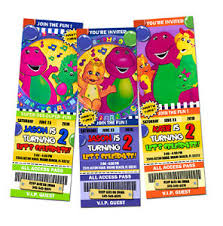 barney dinosaur birthday party invitation ticket 1st card
