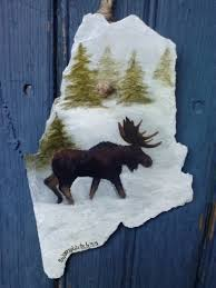 maine moose recycled roofing slate hunting lodge art vacation