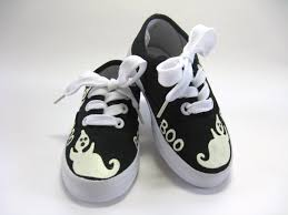 boys halloween ghost shoes hand painted black sneakers for