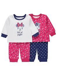 disney minnie mouse 2 pack pyjamas baby george