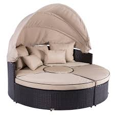 Outdoor Wicker Patio Furniture Round Canopy Bed Daybed - patio 2 in 1 rattan wicker lounge set round sunbed sofa w canopy