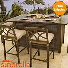 Patio Bar Height Dining Table Set Amazon Com 5 Piece Outdoor Bar Height Firepit Patio Furniture