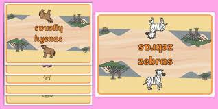 editable class group table signs safari animals safari