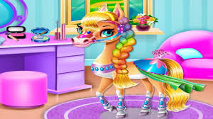 rainbow pony beauty salon makeover bath dress up kids games for