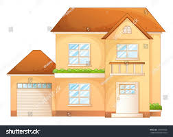 illustration clipart simple house pencil and in color