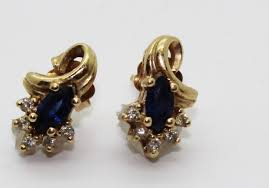 bluestone earrings 19g 14kt gold earrings with diamond and blue accenrts blue