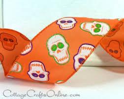 skull ribbon wired etsy