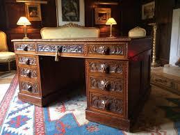 antique partners desk gothic green man walnut victorian 19th