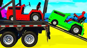 fun color cars transportation spiderman cartoon for kids w