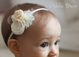 flower girl headbands flower girl headband three ivory flowers bouquet handmade