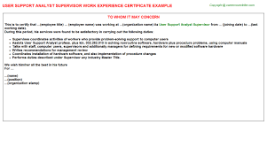 user support analyst supervisor work experience certificate