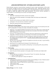 Chef Duties Resume CV Cover Letter - Dining room supervisor job description