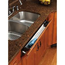 kitchen sink cabinet tray rev a shelf 3 in h x 22 in w x 1 688 in d stainless tip out sink front tray 6541 22 52 the home depot