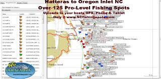 Map Of Outer Banks Nc Hatteras Nc To Oregon Inlet Nc Fishing Map And Fishing Spots