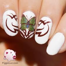 piggieluv tribal butterfly nail art