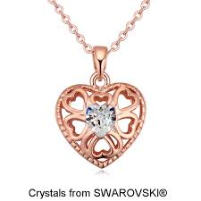 heart necklace swarovski images Women 39 s rose gold color pendant necklaces made with swarovski jpg