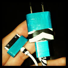 diy phone charger turquoise zebra print iphone charger u2022paint with nail polish