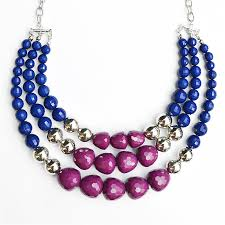 blue beaded necklace images Three strand bead necklace silver bib necklace in purple navy jpg