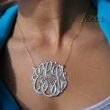 personalized monogram necklace personalized handmade script initials monogram necklace with