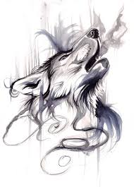 howling wolf black white aquarelle best ideas gallery