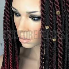 hair cuff gold metal braid and dread adjustable cuff bead