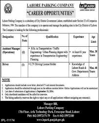 assistant manager u0026 driver jobs lahore parking company