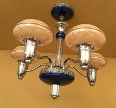 1930s Chandelier by 1930s Blue Gill Glass Chandelier