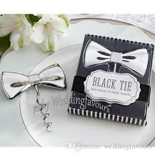 silver chrome black tie bow tie corkscrew wine opener wedding