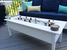 outdoor coffee table with cooler coffee table
