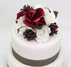 winter wedding cake topper cranberry burgundy red white rose