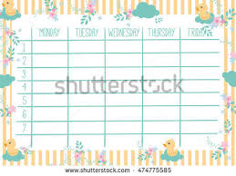 cute calendar weekly planner template organizer stock vector