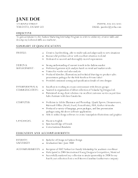 Resume Samples Marketing by Objective For Fashion Resume Free Resume Example And Writing
