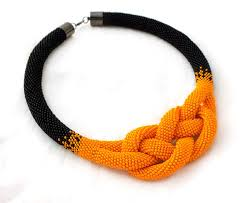 beads knots necklace images Bead necklaces beads crochet rope necklace a black and orange jpg
