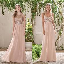 wedding dresses for of honor cheap gold sequins top chiffon 2018 bridesmaid