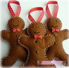 3 felt gingerbread handmade ornaments