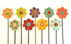 metal flower garden stakes ceramic flowers planter decor garden decor ceramic spring