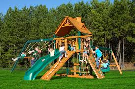 Cedar Playsets Furniture Gorilla Playsets Navigator Swing Set With Wood Roof