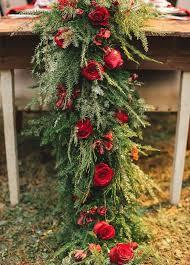 pine and roses winter wedding floral table runner 2498556 weddbook