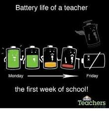 Monday School Meme - battery life of a teacher friday monday the first week of school