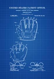baseball glove patent patent print wall decor baseball art