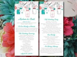 jar wedding programs jars wedding program template gingerbread teal wedding