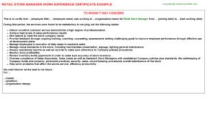 Retail Store Manager Job Description For Resume by Retail Store Manager Work Experience Certificate