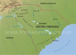 South States Map by Physical Map Of South Carolina