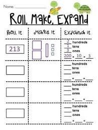 place value roll it make it expand it math station 4 different
