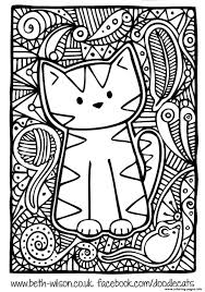 difficult cute cat coloring pages printable