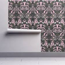this is halloween haunted house damask pale pink wallpaper