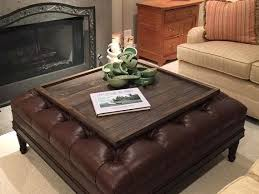 leather tray top ottoman cool leather ottoman with tray coffee table storage ottoman with