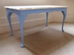 cream and blue coffee table mahogany wood painted with chalk