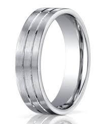 Mens Platinum Wedding Rings by Designer Platinum Wedding Ring 2 Grooves Satin Finish
