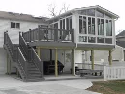 Average Cost Of A Sunroom Addition Two Story Decks With Stairs Nice Two Story Sunroom On Deck With
